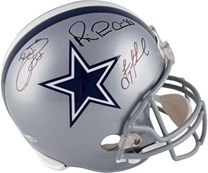 e0663db027e Image Unavailable. Image not available for. Color: Troy Aikman, Emmitt Smith,  Michael Irvin Dallas Cowboys Autographed Riddell Replica Helmet ...