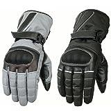 Hilbro Menss Cordura Motorbike Motorcycle Gloves Hipora Lining Waterproof Reflective - Black and Grey