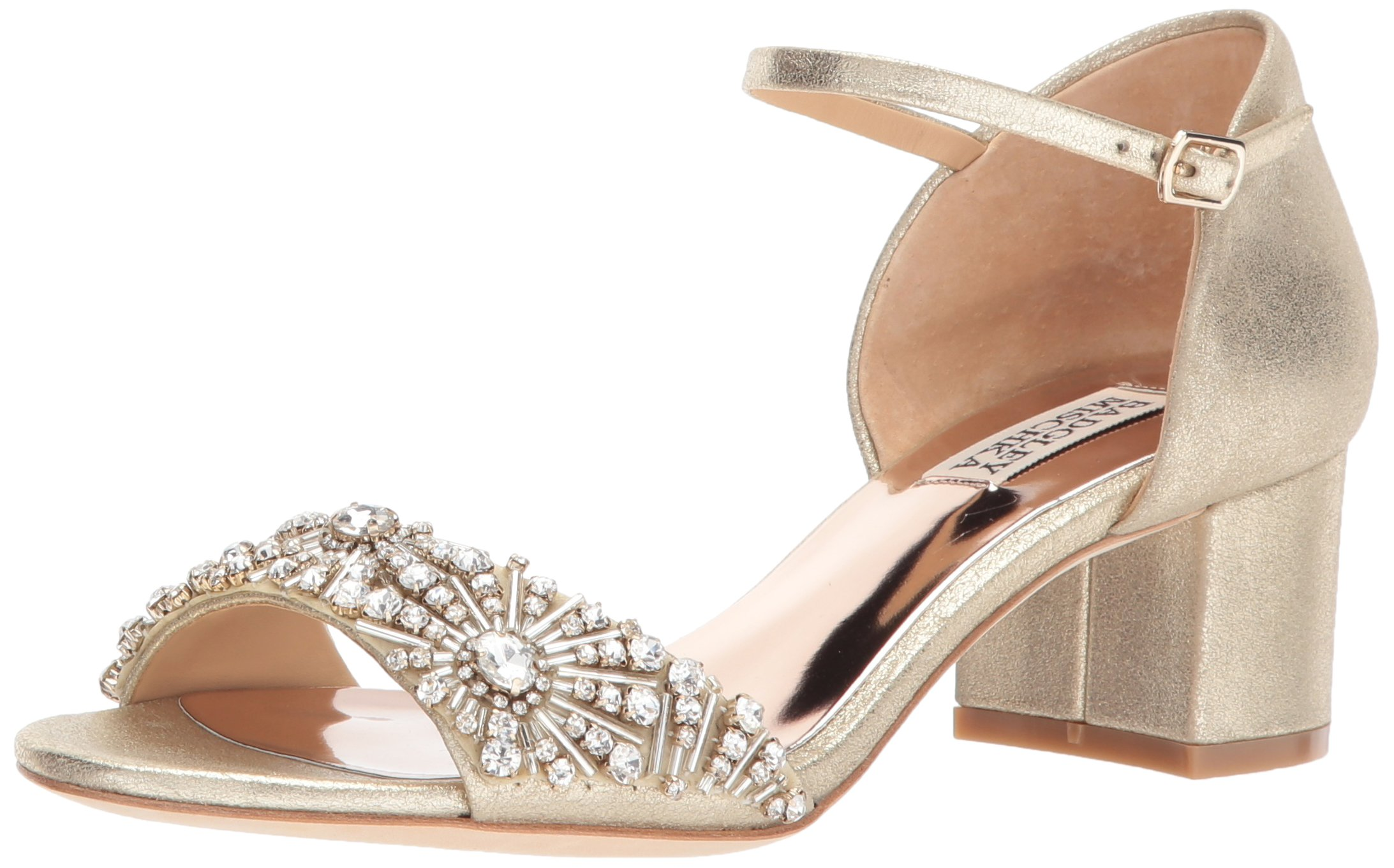 Badgley Mischka Women's Mareva Heeled Sandal, Platino, 8.5 M US