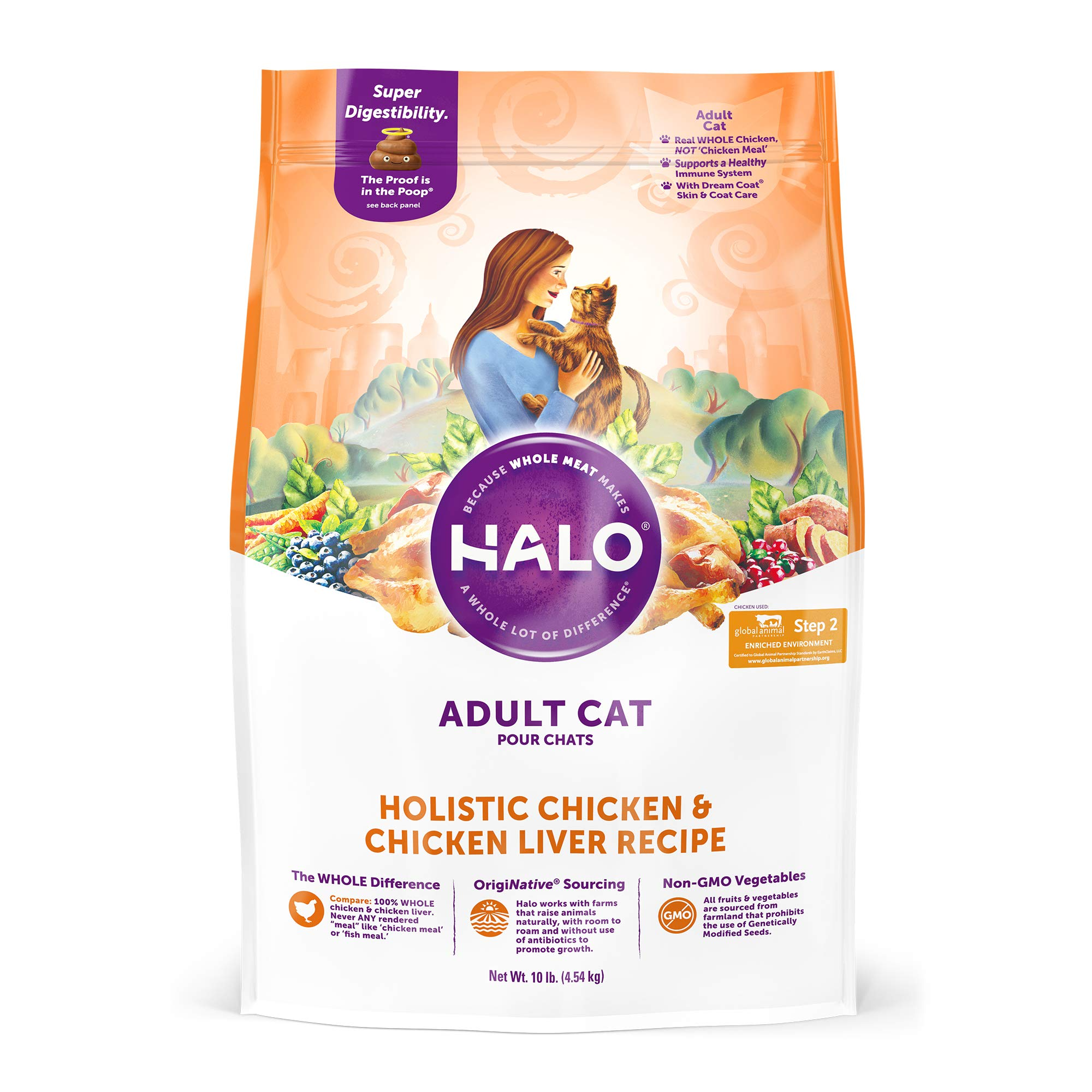 HALO, Purely for Pets 35220 Natural Dry Cat Food, Chicken & Chicken Liver Recipe, 10 lb Bag, Brown by HALO