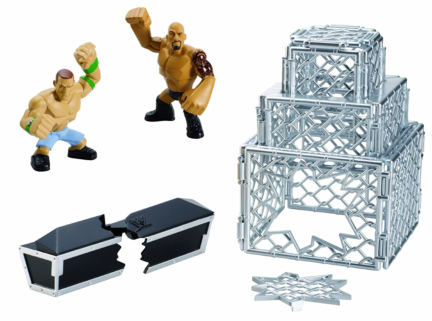 amazon com wwe rumblers rampage the rock and john cena cage play