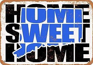 "Lplpol Home Sweet Home Connecticut Blue Aluminum Sign Indoor Or Outdoor Vintage Metal Sign 12"" x 18"""