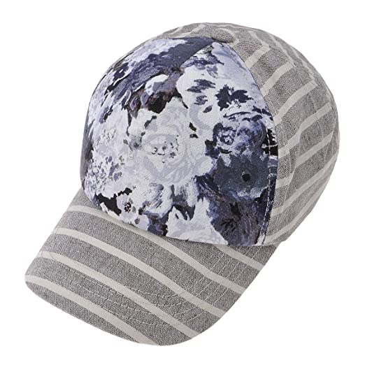 a3a30fc6dea ZLYC Women Striped Floral Cotton Baseball Cap Adjustable Curved Snapback Hat