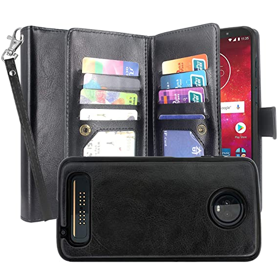 new product 055b6 91921 Moto Z3 / Z3 Play XT1929 Case, Lacass Detachable 2 in 1 PU Leather Flip  Wallet Case with 12 Card Slots and Wrist Strap Compatible with Motorola  Moto ...
