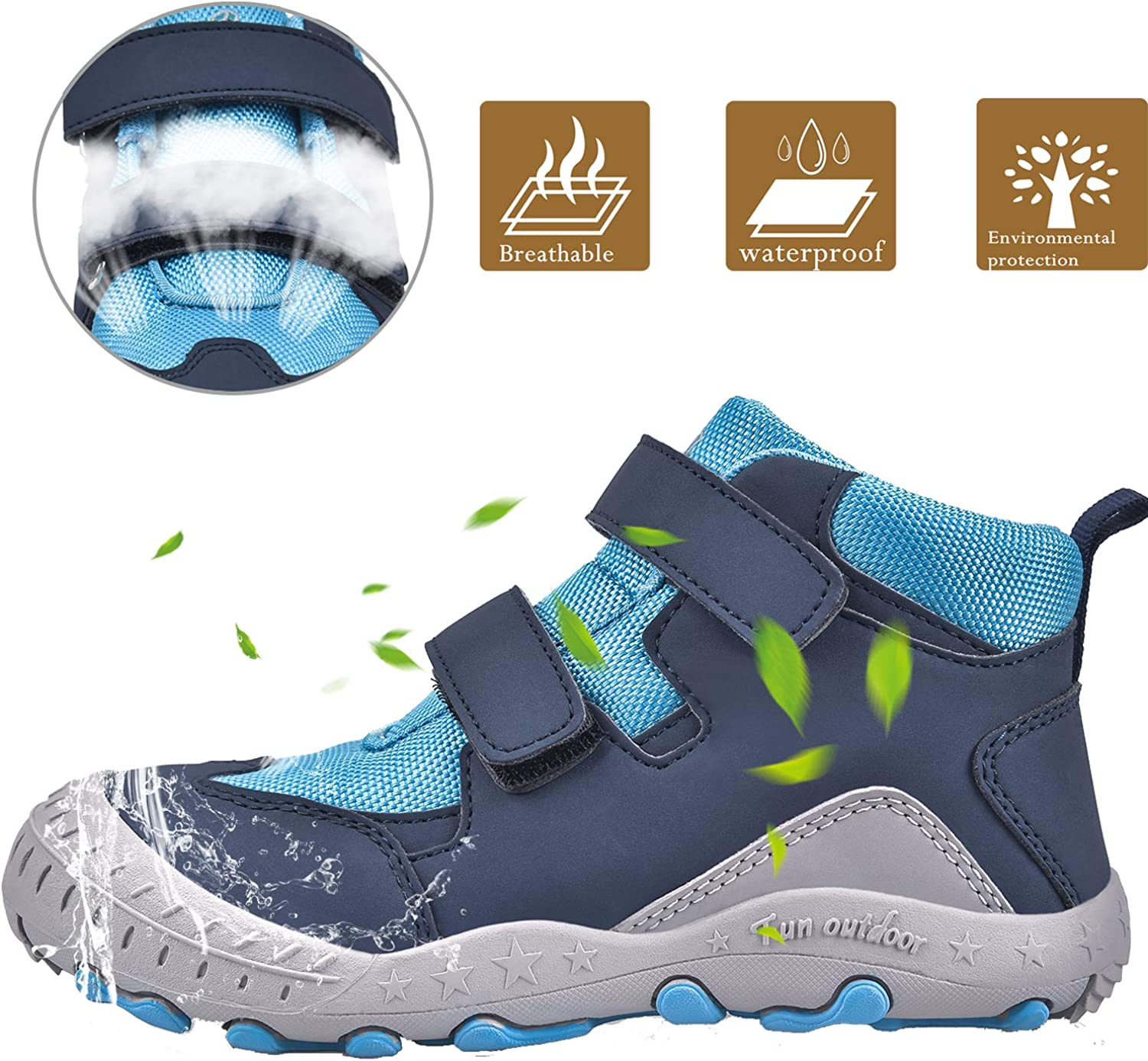 JACKSHIBO Boys Girls Ankle Hiking Boots Kids Outdoor Trekking Shoes Water  Resistant Walking Sneakers for Toddler Shoes Outdoor