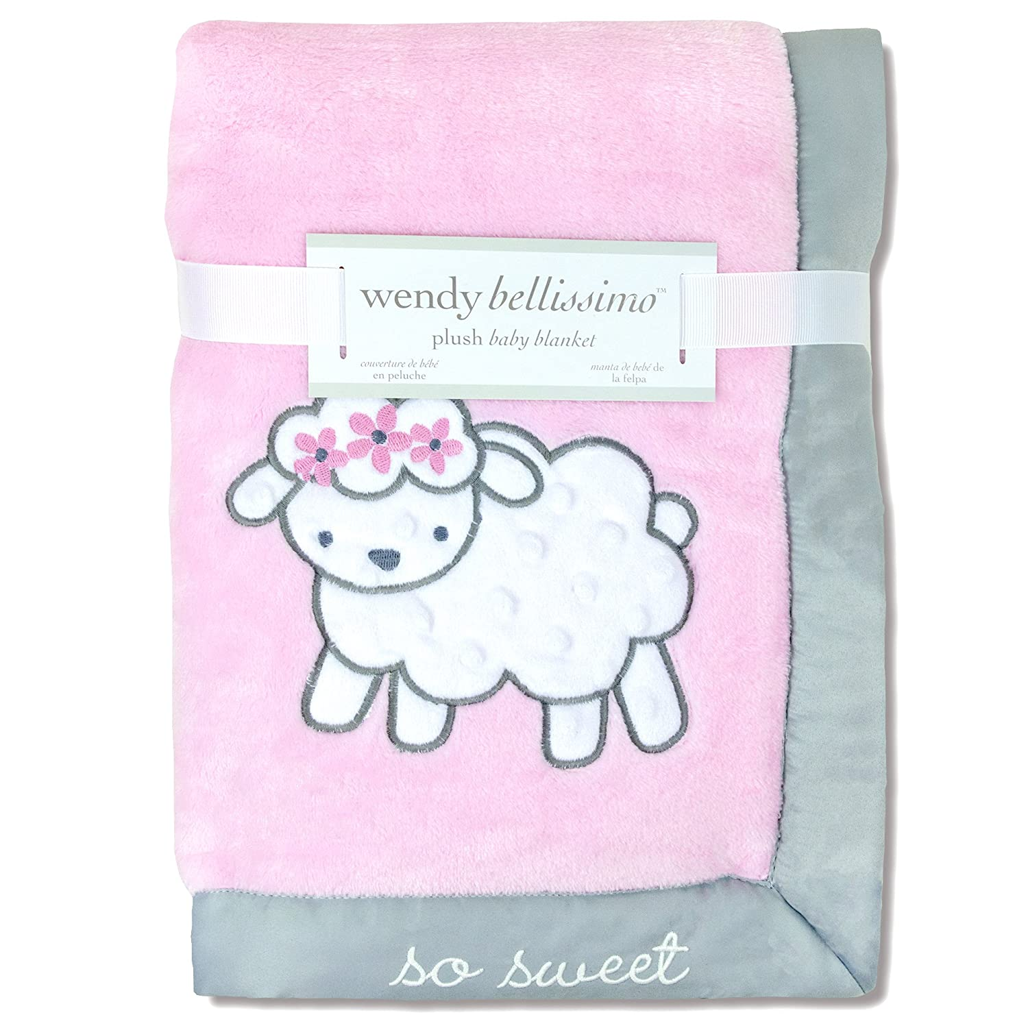 Amazon.com: Wendy Bellissimo Super Soft Plush Baby Blanket - Sheep Baby Blanket from the Savannah Collection in Pink & Grey: Baby