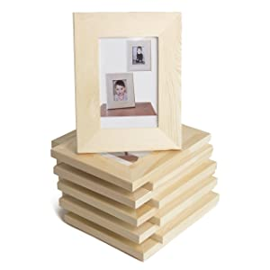 Wallniture Logan Picture Frames 5x7 Unfinished Wood for Kids Arts and Crafts for Adults Set of 10