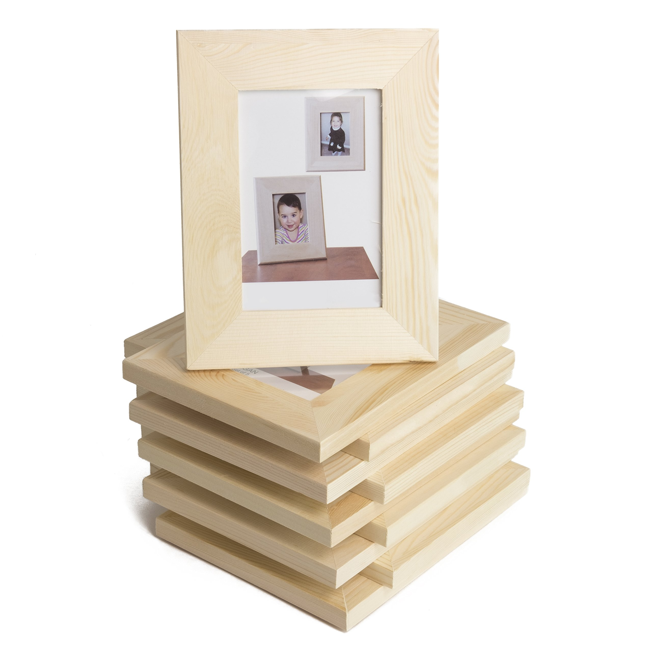 WALLNITURE Kid's DIY Projects Picture Frames Crafting Unfinished Wood 4x6 Set of 10 by Fasthomegoods (Image #1)
