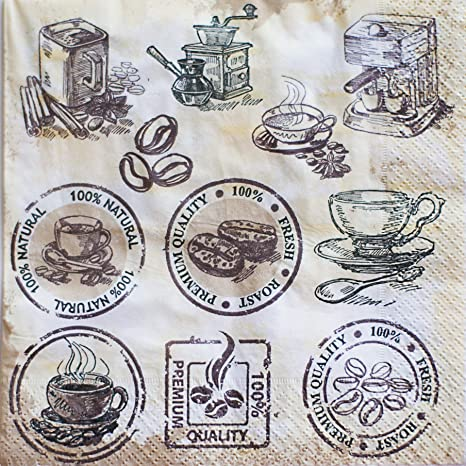 Magical Substance.. Harman 3-Ply Kraft Coffee.. - Paper Cocktail Beverage Napkins 20 ct