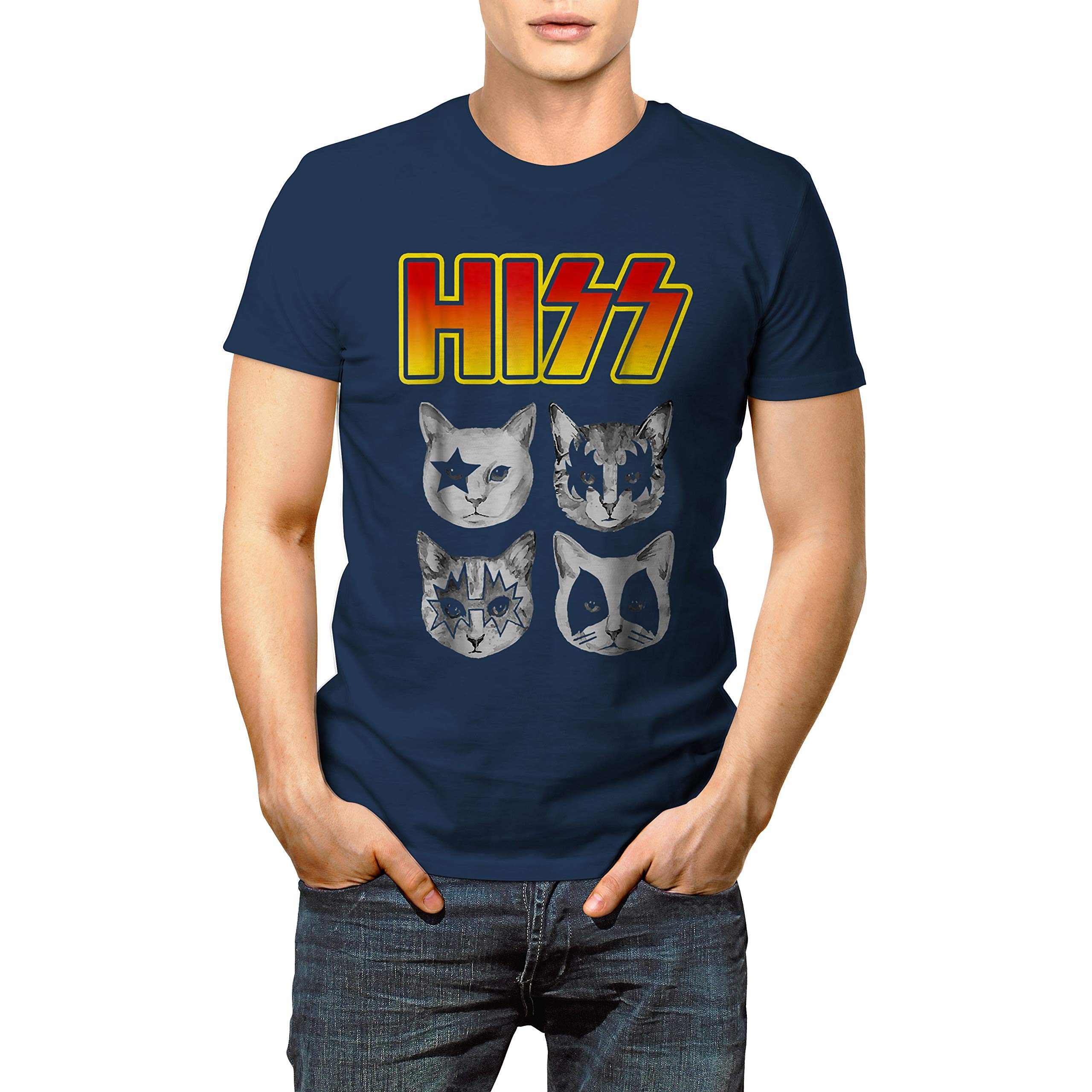 Hiss Funny Cats Kittens Rock Rockin T Shirt Gift Christmas Xmas New Year For Cat Lover