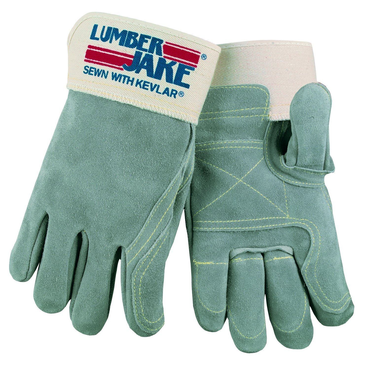 Finger and Thumb Full Leather Back Glove Medium MCR Safety 1735M Lumber Jake Double Leather Palm 1-Pair