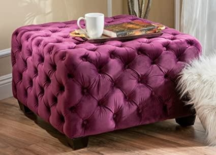 Astonishing Amazon Com Purple Tufted Soft Velvet Fabric Square Ottoman Dailytribune Chair Design For Home Dailytribuneorg