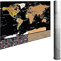 Scratch Off World Map Poster & Travel Map by Ignite Wander | 82.5 x 59.5cm Gold Foil Travel Map | Track & Plan Your Adventures Today