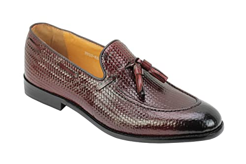 7eeaf58ee87 Xposed Mens Woven Look Real Leather Red Maroon Tassel Loafers Smart Casual  Formal Slip on Dress