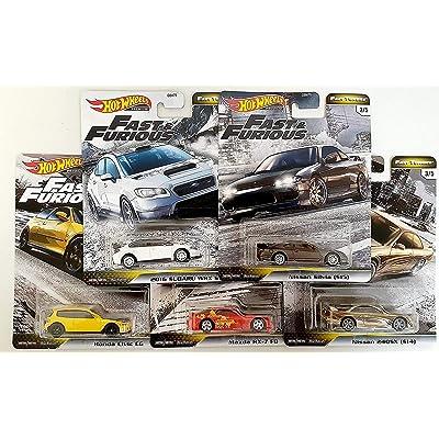 Hot Wheels Fast & Furious Fast Tuners Premium Die Cast Set (Honda Civic EG, Mazda Rx-7 FD, Subaru WRX, Nissan Silvia, 240SX): Toys & Games