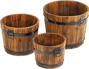 Apple Barrel Planter Trio Rustic Wooden Outdoor Patio Planters Vintage Decor