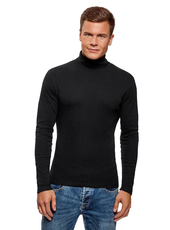 oodji Ultra Herren Langarmshirt Basic mit Rollkragen