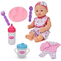 Baby Doll Clothes and Accessories Set - Playset Includes 12 Inch Doll, Feeding Plate, Utensils, Bottle, Sippy Cup, Bib and 2 Outfits - 12 Piece Gift Set for Kids, Toddlers, Girls Boys