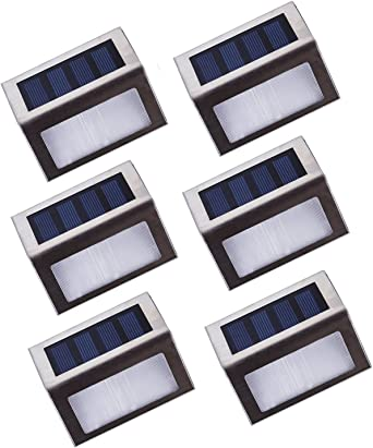 Asvert Lámpara de Pared Solar 6 pcs LED Apliques Solares para Exterior Impermeable IP44 de Material PC+ABS+Acero Inoxidable para Jardín Escalera: Amazon.es: Iluminación
