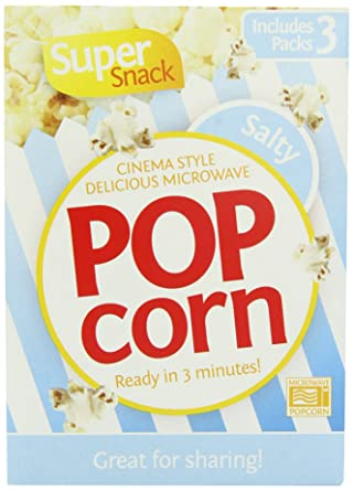 Super Snack Salty Popcorn 3 x 85 g (Pack of 8, Total 24 Bags)
