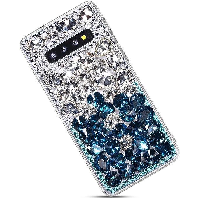 Purpurina Case,Brillante Brillo Bling Diamante Rhinestone Ultra Fina Silicona TPU Fundas Cover Case-Negro Felfy Diamantes Funda Compatible con Galaxy S10 Plus Carcasa,Compatible con Funda Galaxy S10