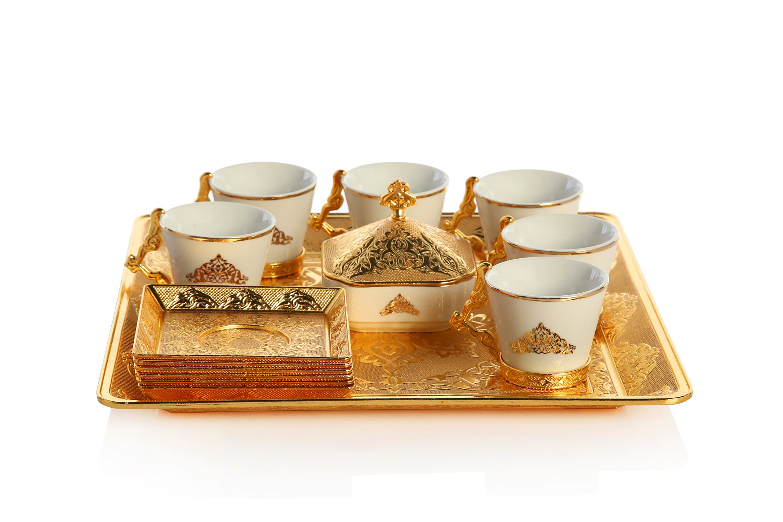 Gold Case Gold Plated Turkish, Arabic, Greek and Espresso Coffee Set for 6 - Made in Turkey - 21 Pieced Set for 6, Gold