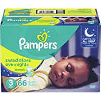 Diapers Size 3, 66 Count - Pampers Swaddlers Overnights Disposable Baby Diapers, Super Pack