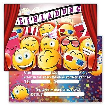 12 Lustige Einladungskarten Set Fr Kindergeburtstag Emojis Kino Party  Jungen Mädchen Kinder Partyspiele Karten Kinofilm Emoji