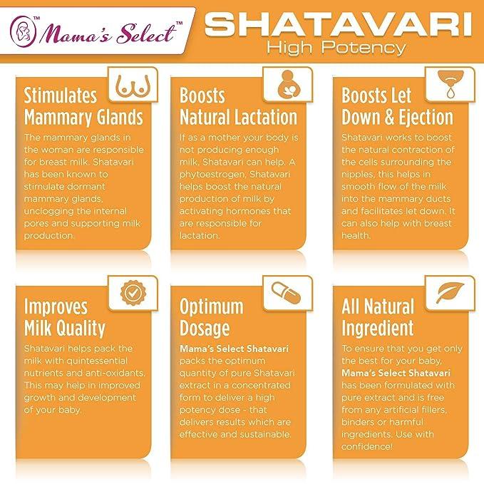 Shatavari de Mamas Select para la producción de leche materna natural, suplemento para la lactancia que equilibra el sistema hormonal femenino durante la ...