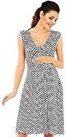 Zeta Ville - Women's Maternity Flared Sleeveless Empire Dress Wrap V-Neck - 110c