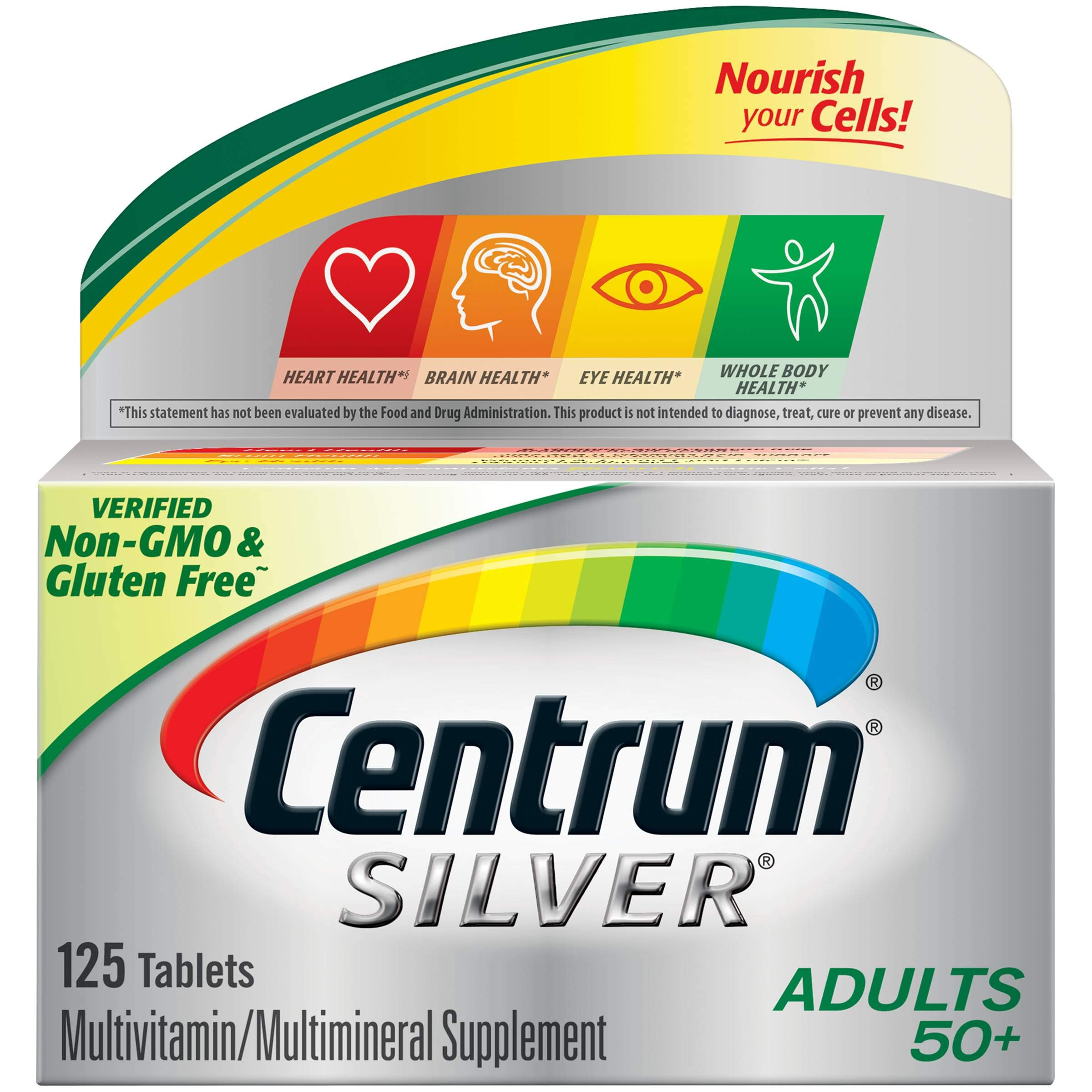 Centrum Silver Multivitamin for Adults 50 Plus, Multivitamin/Multimineral Supplement with Vitamin D3, B Vitamins, Calcium and Antioxidants - 125 Count