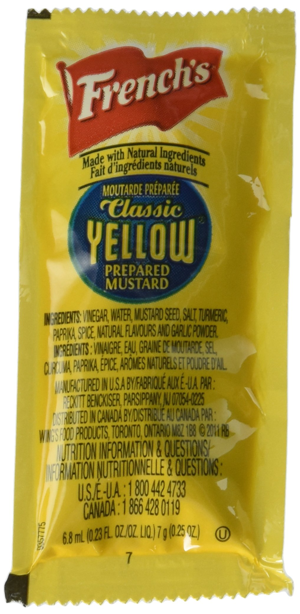 Frenchs Classic Yellow Mustard 7 Gram Packet (Case of 200)