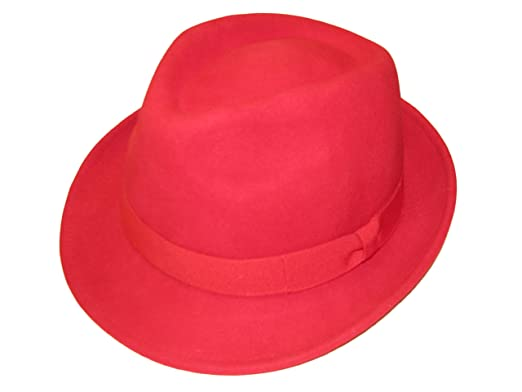 Unisex RED 100% Wool Hand Made Felt Fedora Trilby Hat with Band - 4 Sizes f2b87d490b83