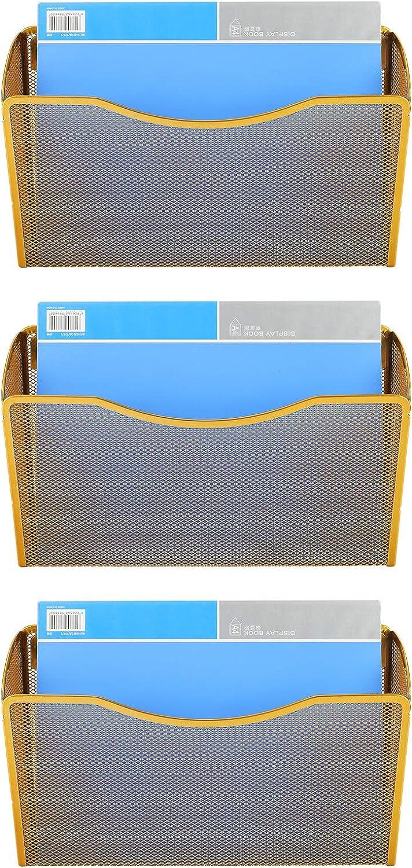EasyPAG 3 Pocket Office Wall Mount Hanging File Holder Metal Wall File Pocket Organizer,Gold