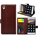 FOSO(™) OnePlus X High Quality PU Leather Magnetic Flip Cover Case [One Plus X] (Royal Brown)