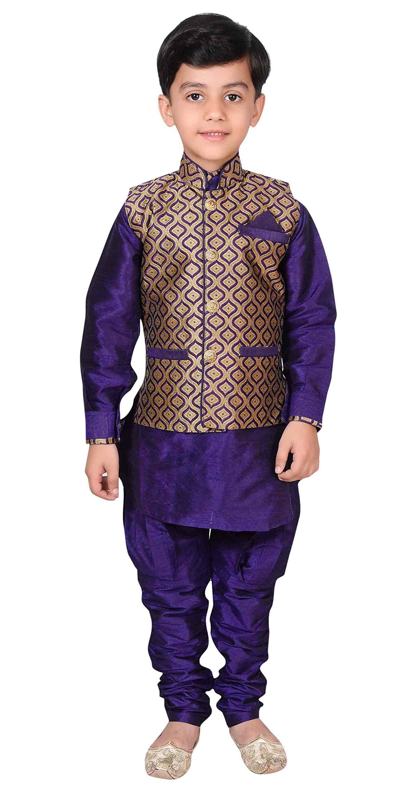 Desi Sarees Boys Kurta Pyjama Waistcoat 3 Pcs Set Apparel EB 944 (13 (13 yrs), Navy Blue)