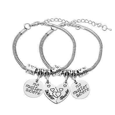 2pcs Mother Daughter No Matter Where Compass Split Broken Heart Double Bracelets Set Family Gift for Women OT9wAWGEM