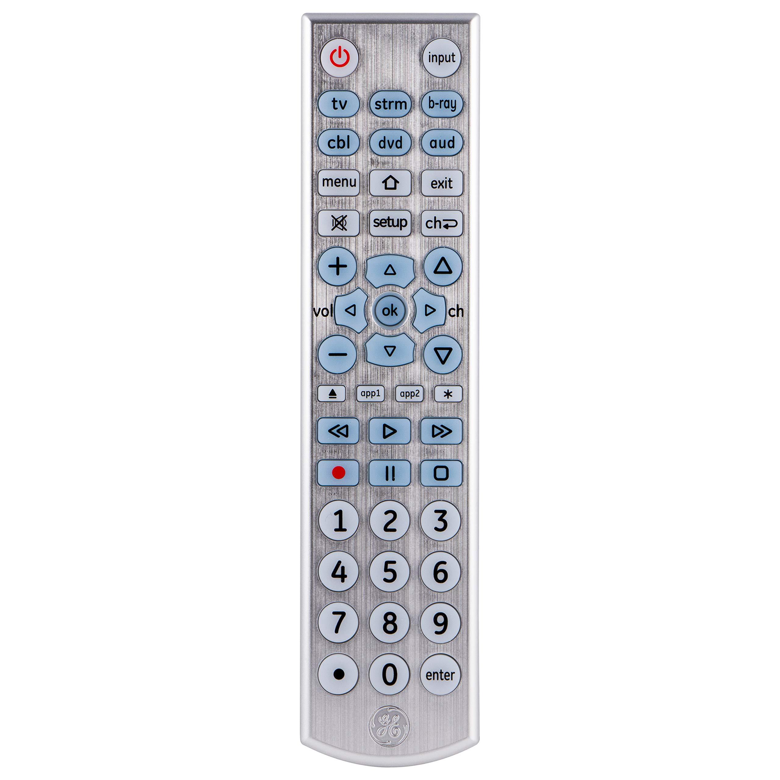 GE 33712 6-Device Big Button Universal Remote Control, Soft-Blue LED Fully Backlit, Designer Series