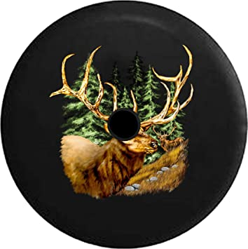 Spare Tire Cover Elk in the Woods with Giant Antlers Wrangler RV