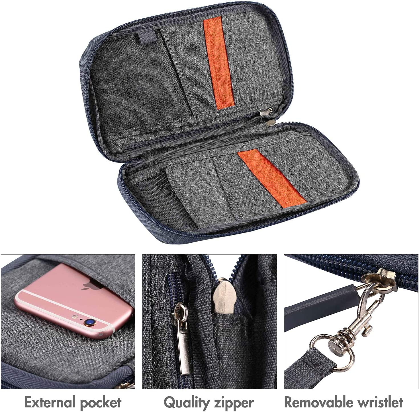 Gray Zipper Car Vehicle OCD Document Holder Case Armrest Storage Wallet for Owners Manual Car Registration Insurance Card Tire Gauge Changes UBAYMAX Glove Box Console Organizer with 12 Pockets