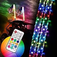 Luces LED de látigo, 2 unidades, 3 pies, control remoto RGB, luces en espiral, luces intermitentes de freno de marcha…