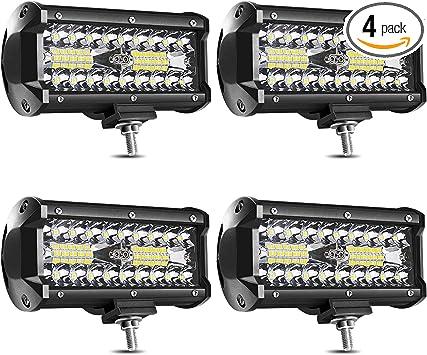 """4X 7/""""INCH 120W LED Light Bar Spot Flood Pods Off-Road For UTV ATV Jeep Truck"""