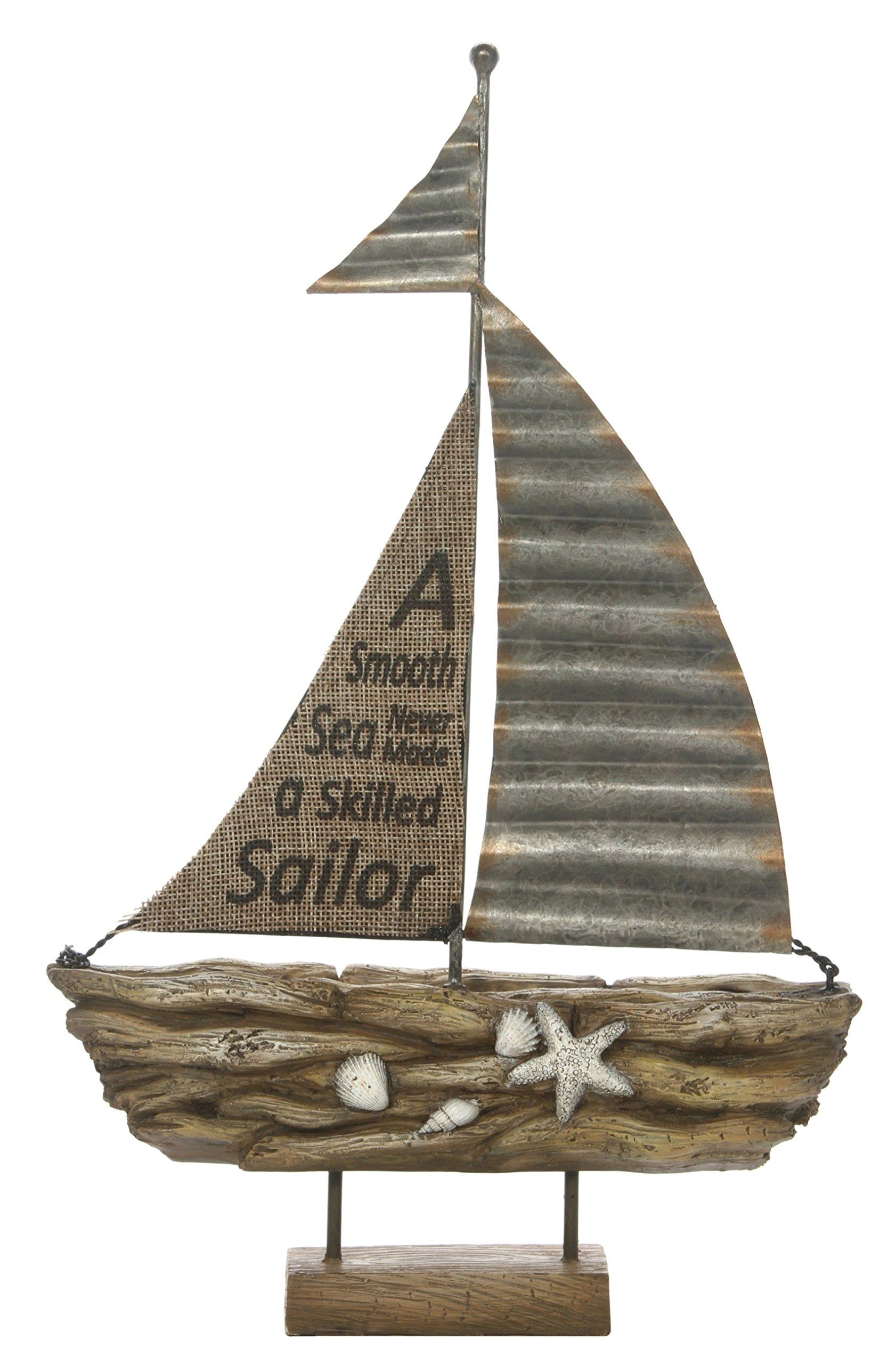 Hosley 13.2'' High, Decorative Tabletop Driftwood Sailboat. Ideal Gift for Wedding, Home, Party Favor, Spa, Reiki, Meditation, Bathroom Settings O9
