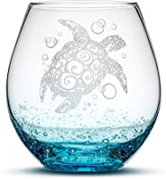 Integrity Bottles Sea Turtle Stemless Wine Glass, Bubbly Turquoise, Handblown, Tribal Design, Hand Etched Gifts, Sand Carved