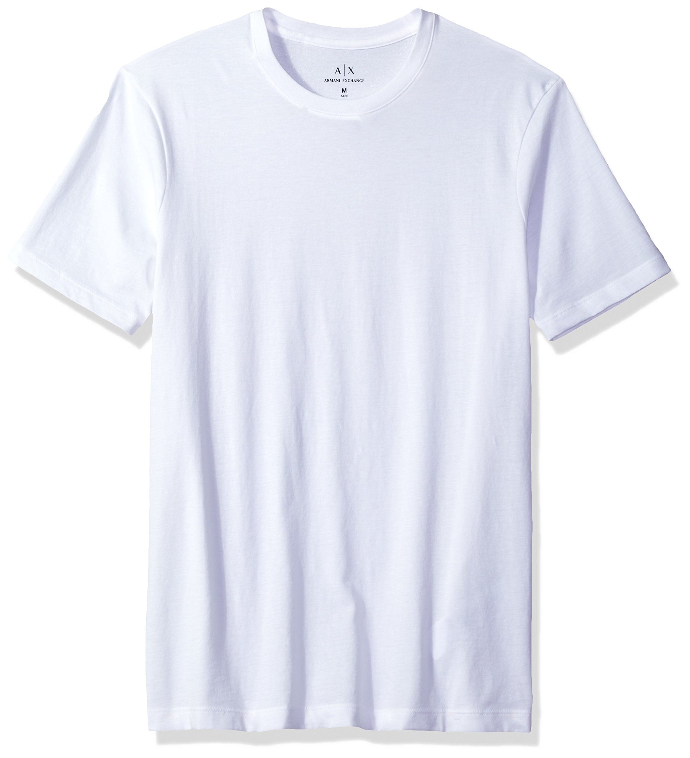A|X Armani Exchange Men's Solid Colored Basic Pima Crew Neck, White, Medium