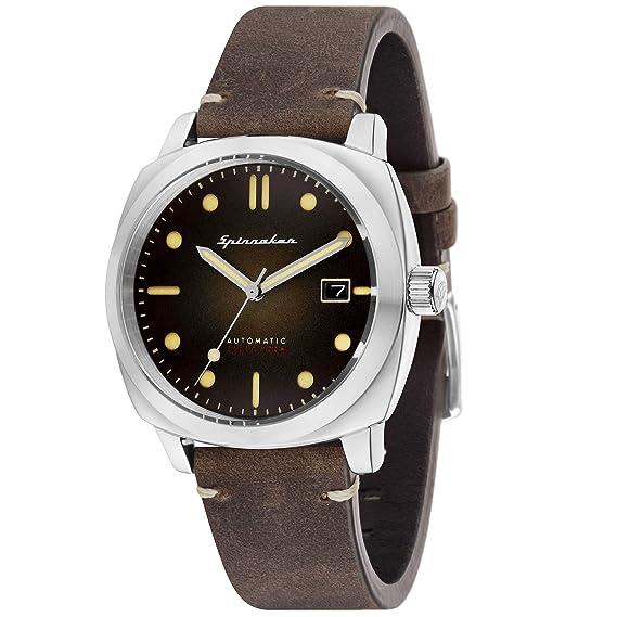 Reloj Hombre - Spinnaker - Gama Vintage - Hull - automático - 42 mm - 10 ATM - Pulsera Piel Marrón - sp-5059 - 02: Amazon.es: Relojes