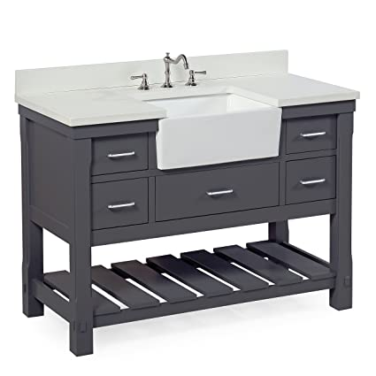 Charlotte 48 Inch Bathroom Vanity (Quartz/Charcoal Gray): Includes A White