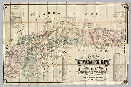 Amazon Com Map Poster Nevada County California 24 X16