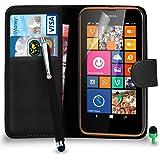 POUR Nokia Lumia 635 - SHUKAN® Prime Cuir NOIR Portefeuille Cas Coque Couverture avec Big Toucher Style Stylo VERT Cap Protecteur d'écran & Tissu de polissage