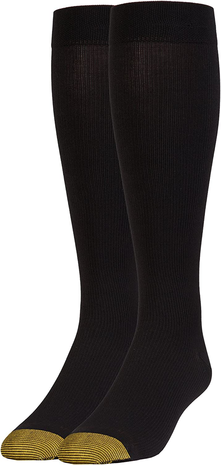 Gold Toe Men's Mild Compression Rib Over-The-Calf, 1 Pair, Black, Sock Size:10-13/Shoe Size: 6-12